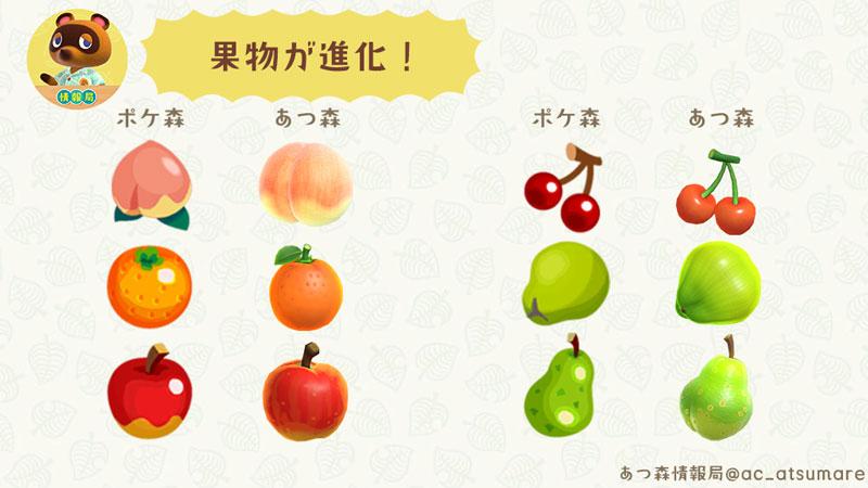 【あつ森】果物(フルーツ)のデザインがよりリアルに